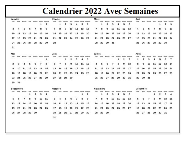 Calendrier 2022 Avec Semaines