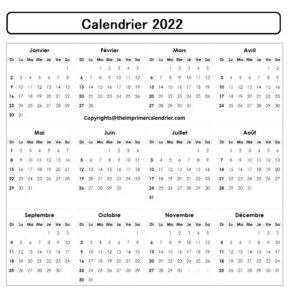 Calendrier 2022 Excel