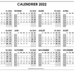 Calendrier 2022 Imprimable