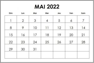 Calendrier 2022 Mai