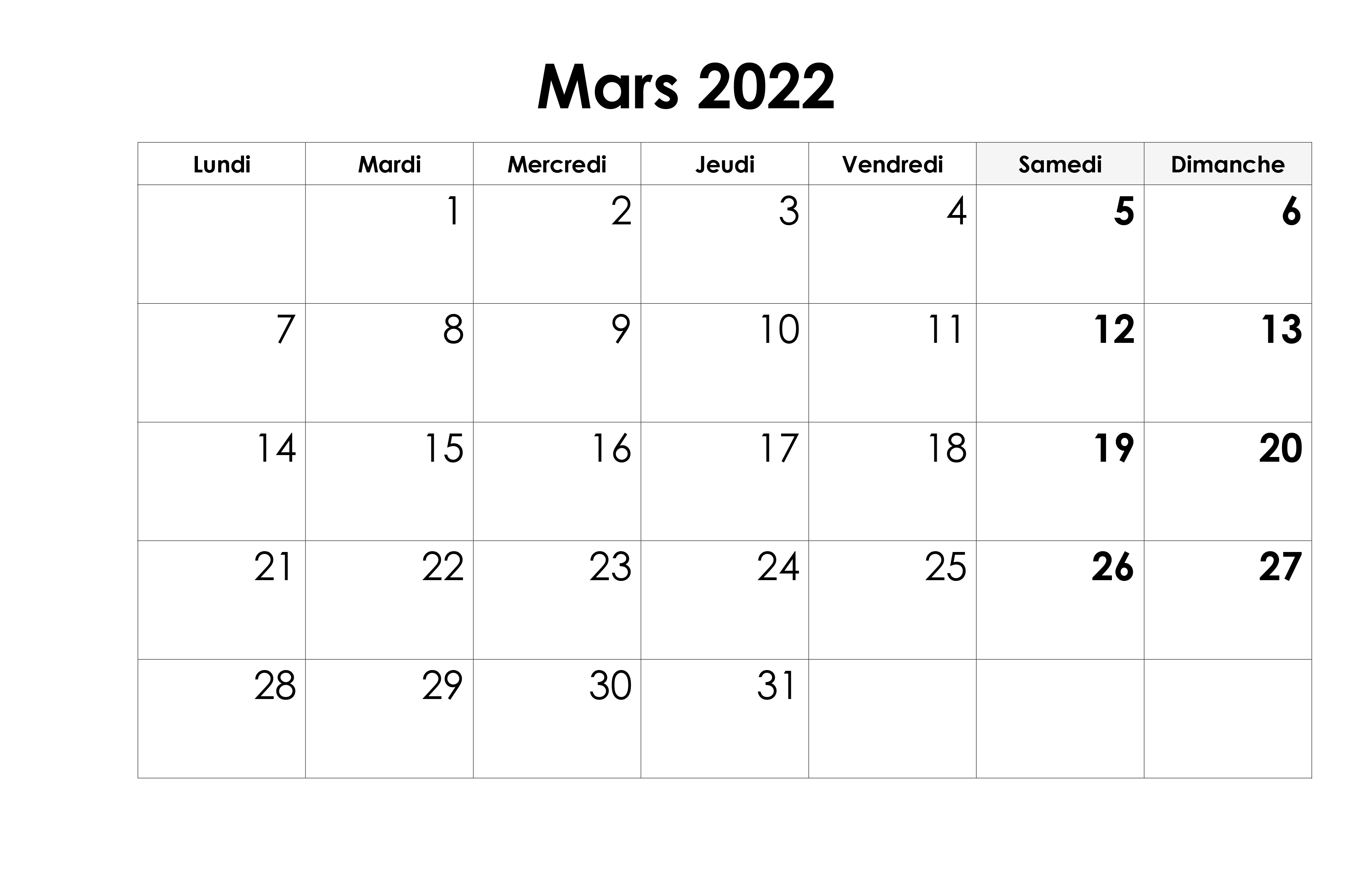 Calendrier 2022 Mars
