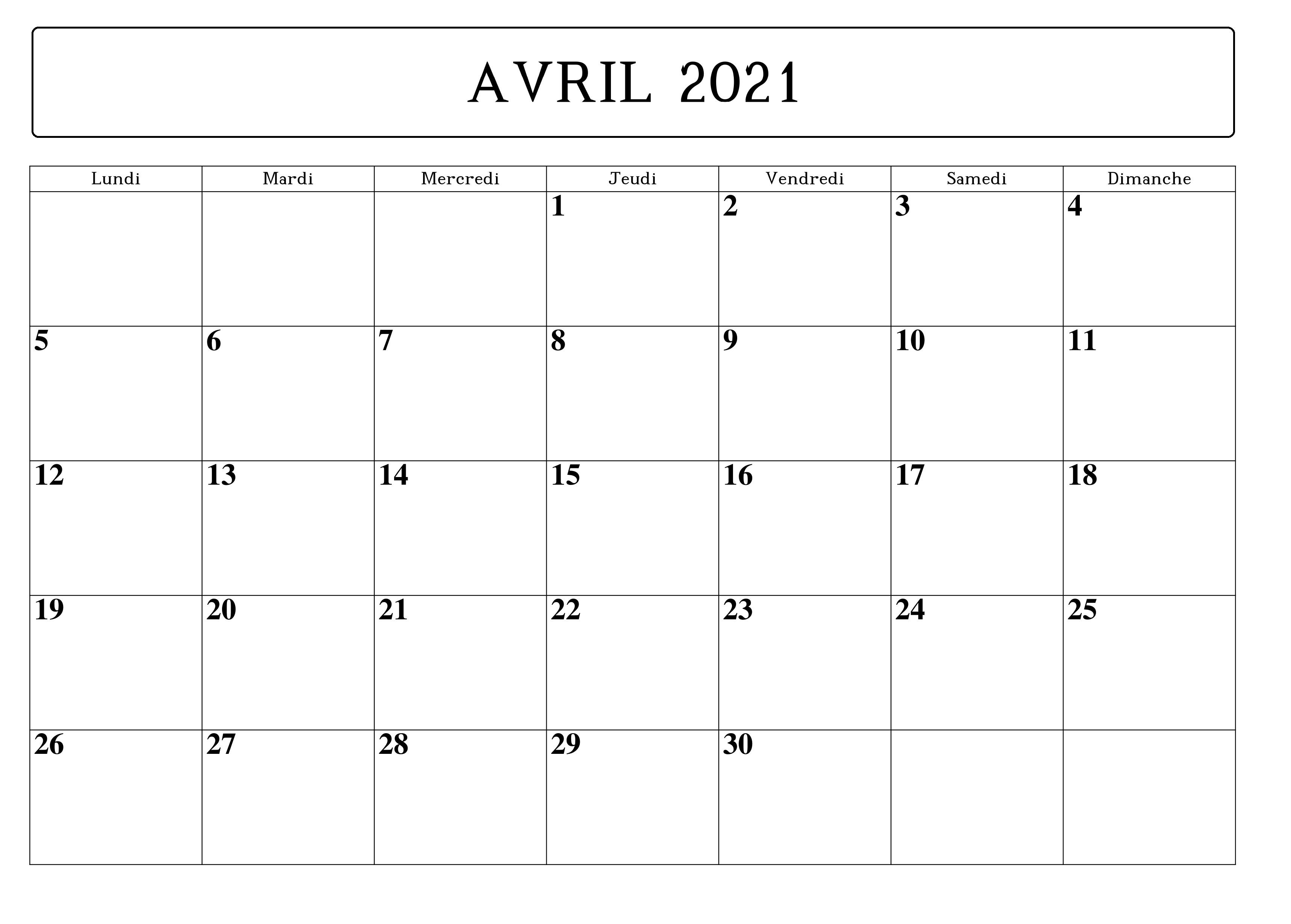 Calendrier Avril 2021 Imprimables