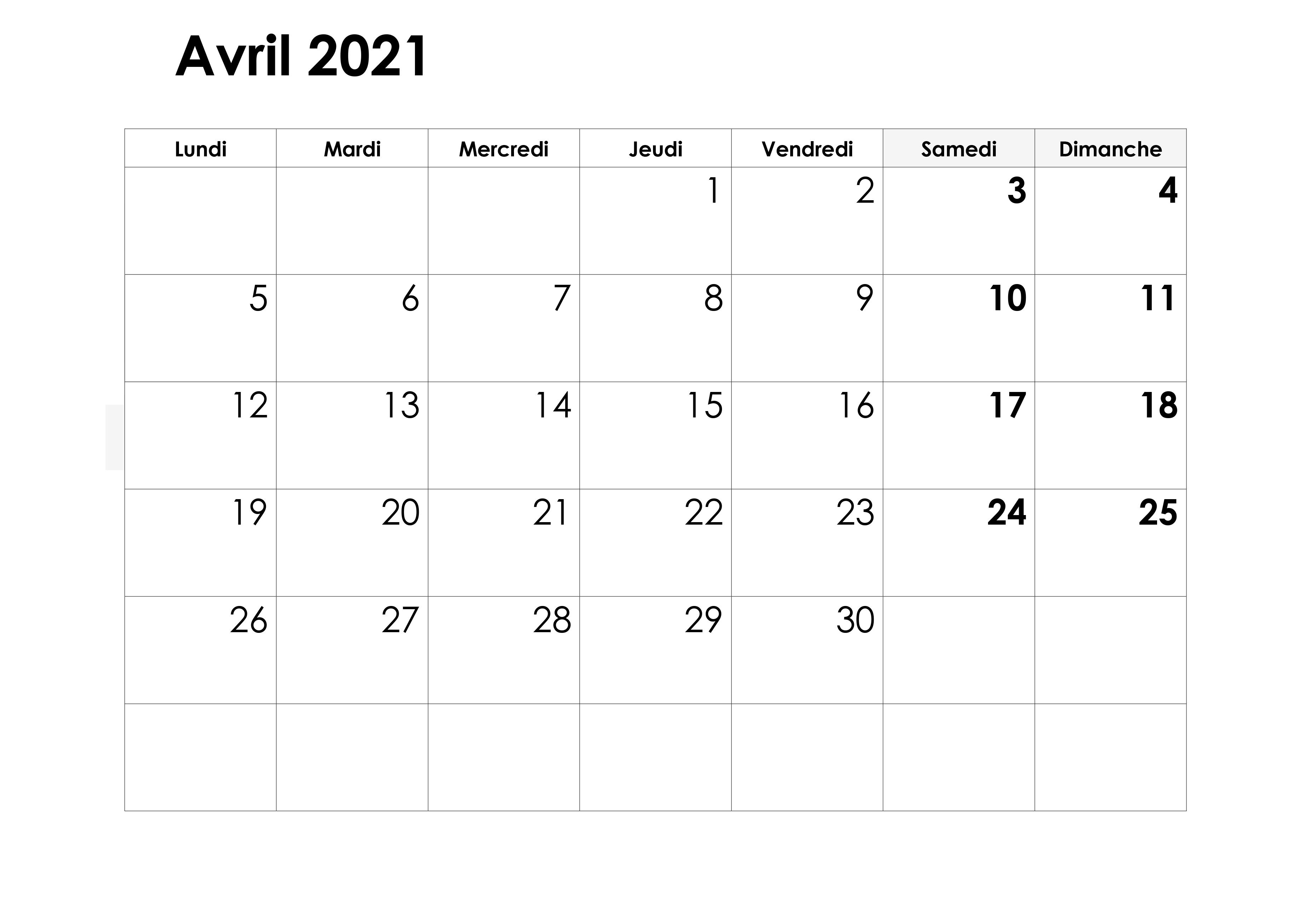 Calendrier Avril 2021 PDF