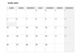 Calendrier Avril 2021 Vacances Scolaires