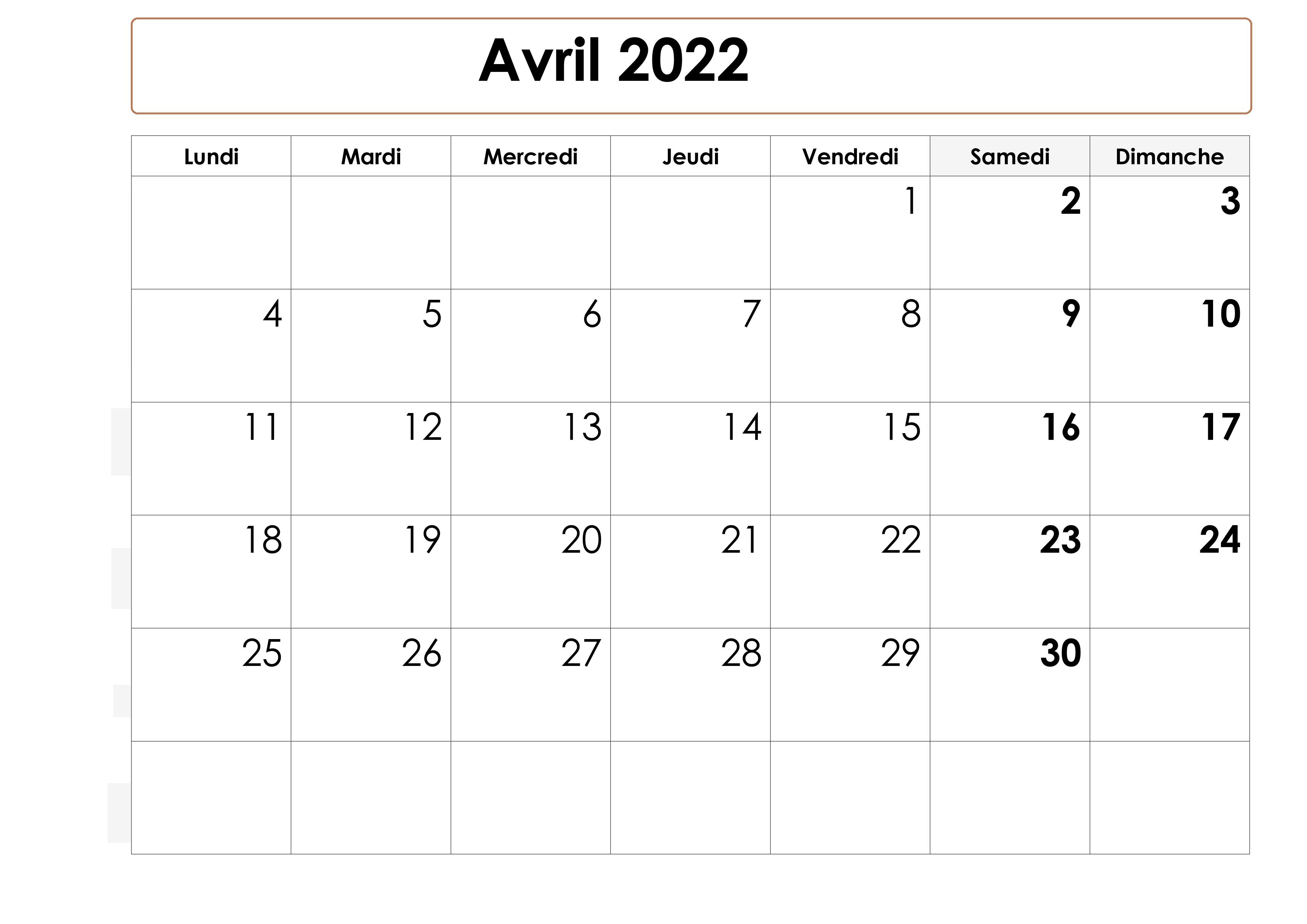 Calendrier Avril 2022 PDF