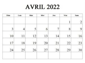 Calendrier Avril 2022 Vacances Scolaires