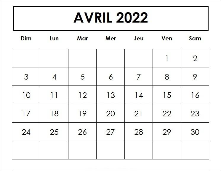 Calendrier Avril 2022