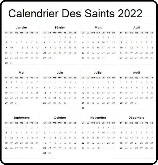 Calendrier Des Saints 2022 Belgique