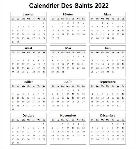 Calendrier Des Saints 2022 Du Jour