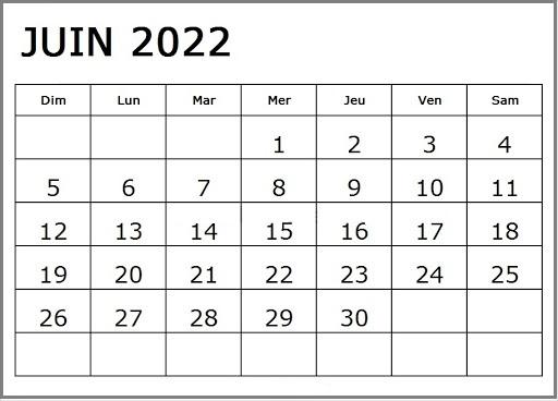 Calendrier Juin 2022 Excel