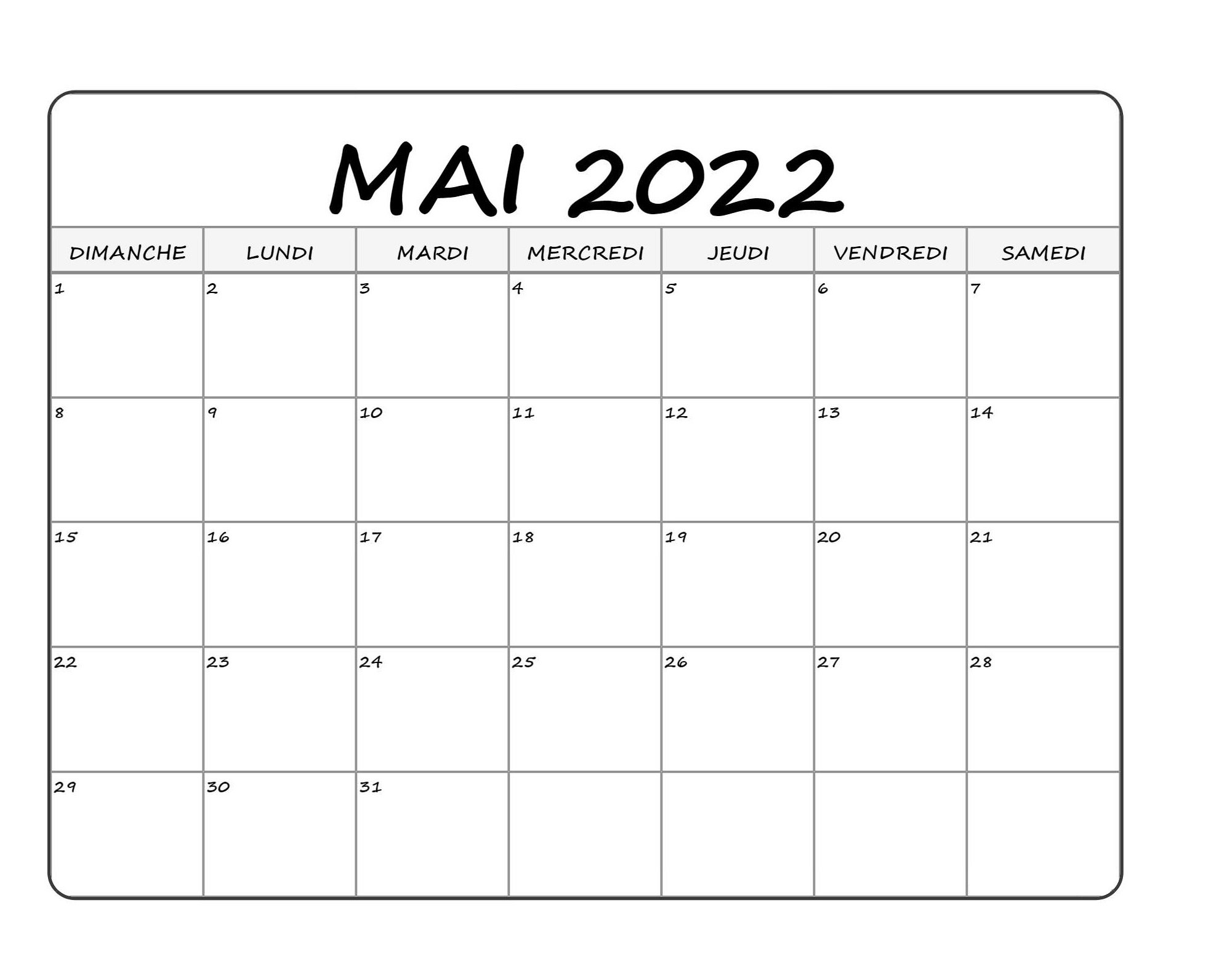 Calendrier Mai 2022 Imprimables