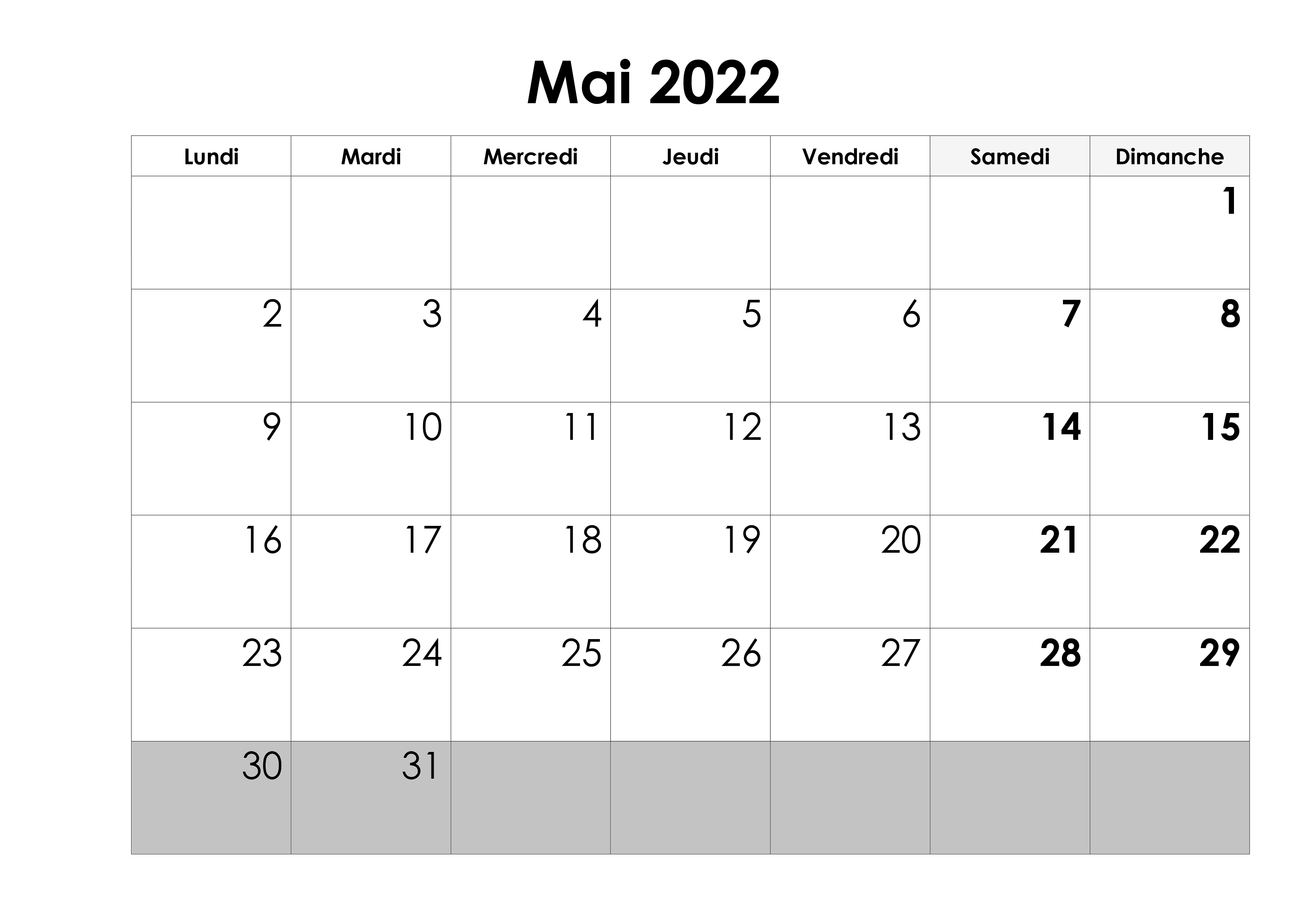 Calendrier Mai 2022 PDF