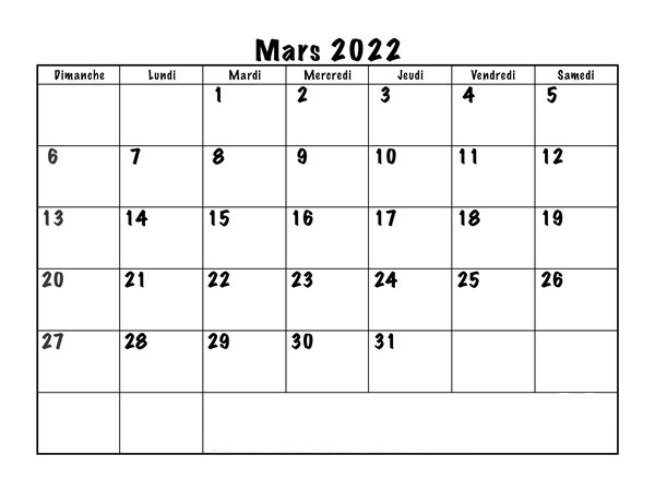Calendrier Mars 2022 Excel