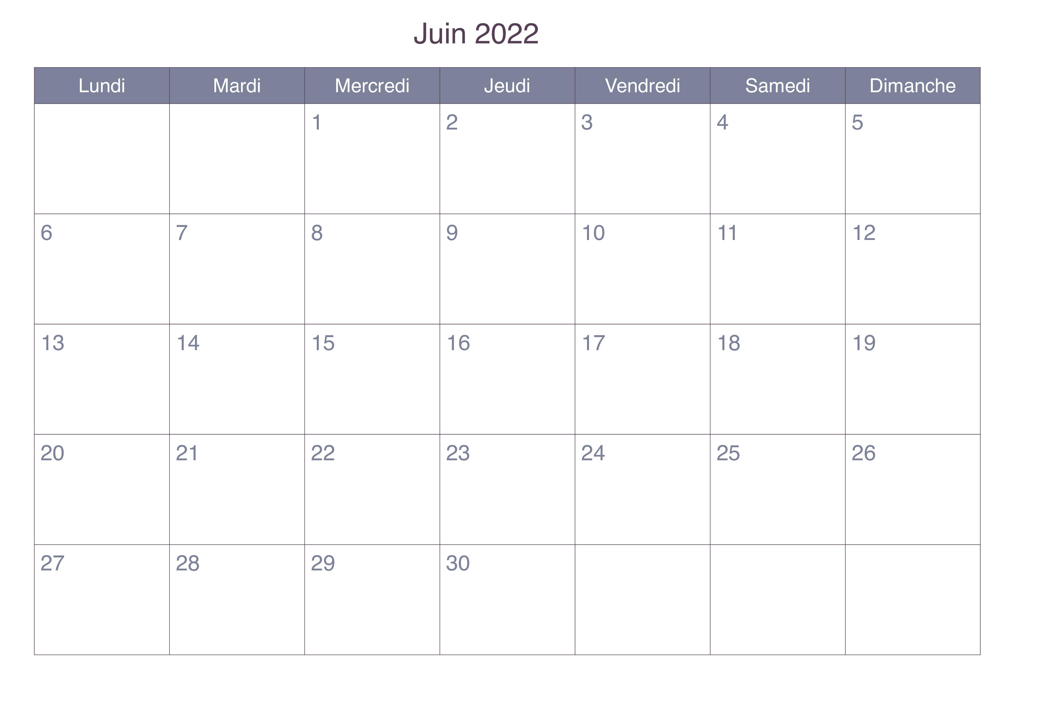 Calendrier Mois de Juin 2022