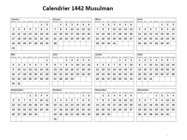 Calendrier Musulman 1442