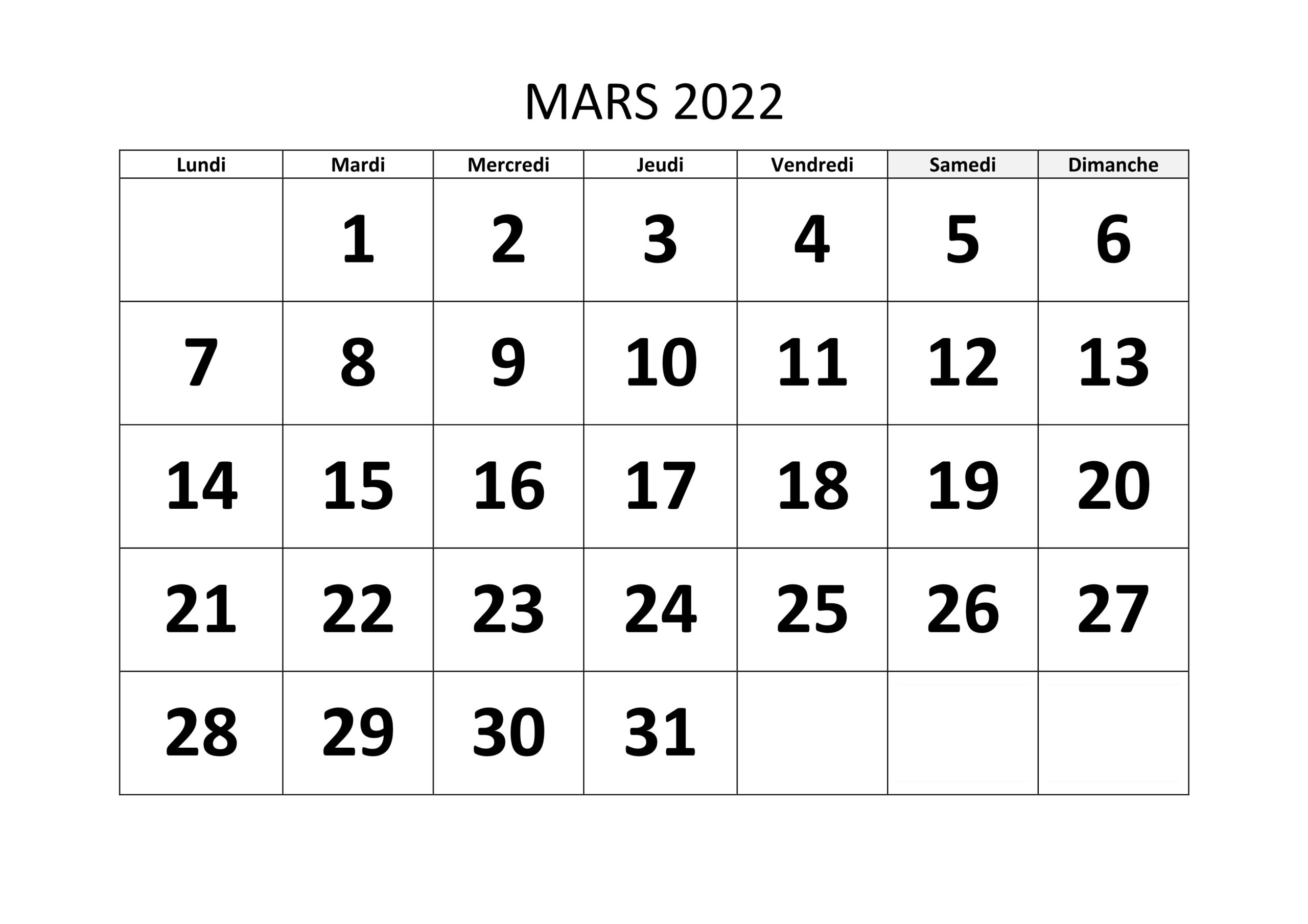 Calendrier de Mars 2022