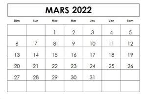 Calendrier mois de Mars 2022