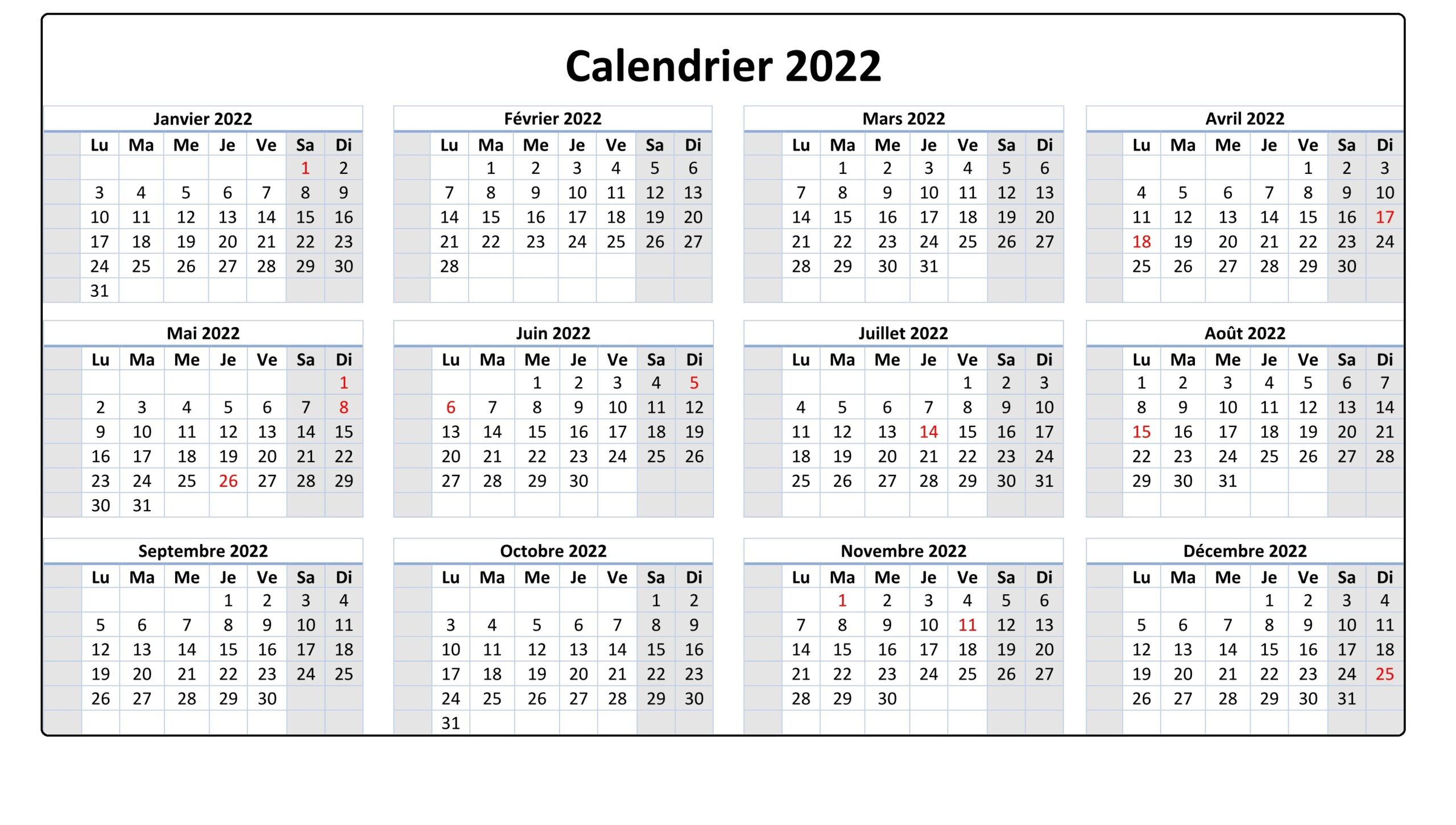 Imprimable Calendrier 2022