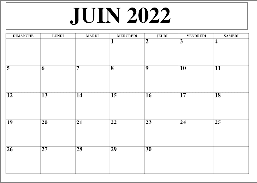Juin 2022 Calendrier PDF