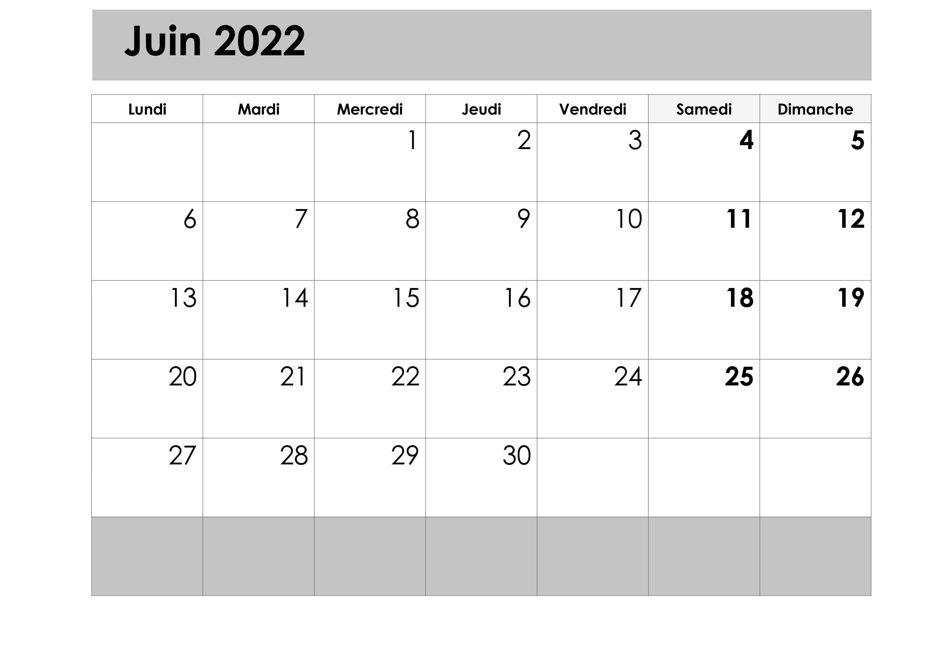 Juin 2022 Calendrier