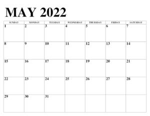 Mai 2022 Calendrier