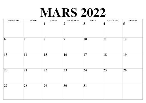 Mars 2022 Calendrier PDF