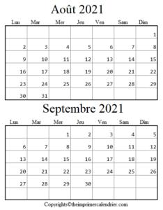 Août Septembre 2021 Calendrier PDF