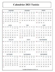Calendrier 2021 Tunisie Avec Jours Feries