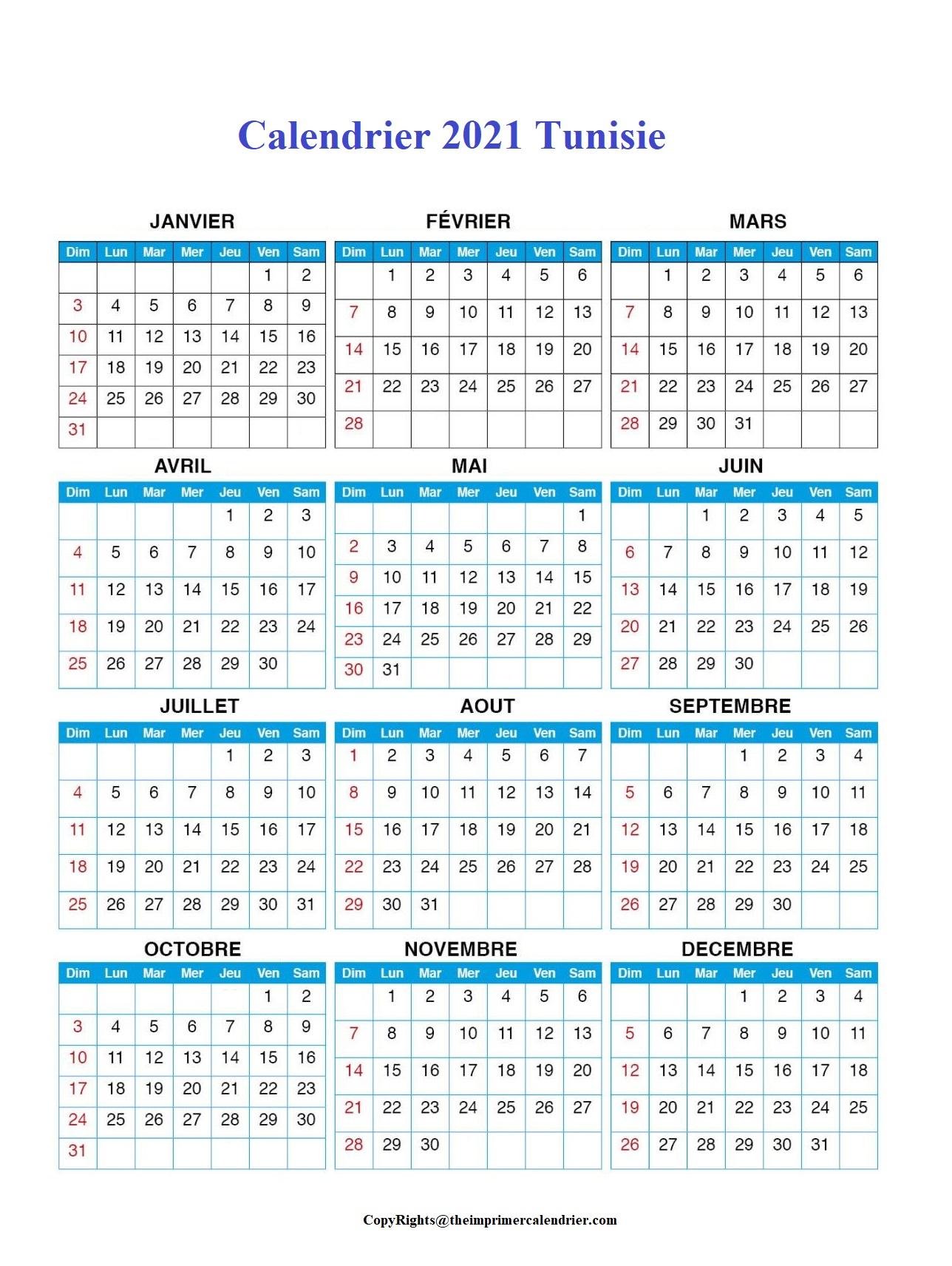 Calendrier 2021 Tunisie Excel