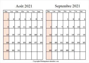 Calendrier Août Septembre 2021 à imprimer