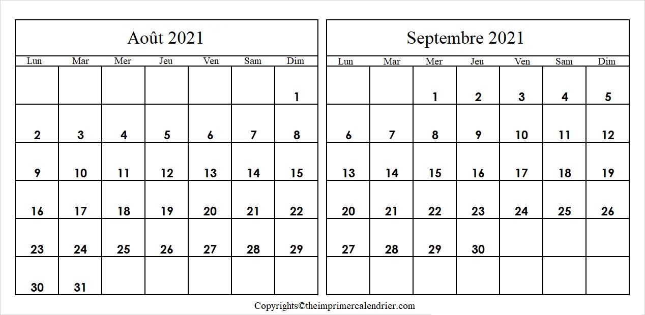 Calendrier Août Septembre 2021