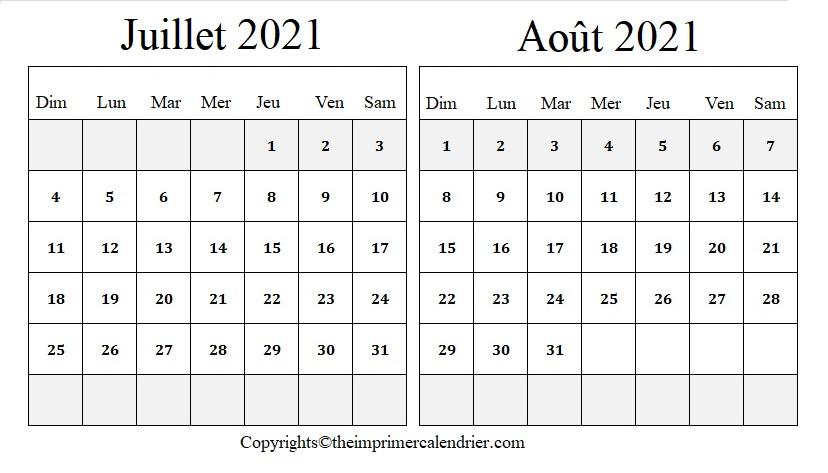 Calendrier Juillet Août 2021
