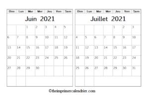 Calendrier Juin Juillet 2021