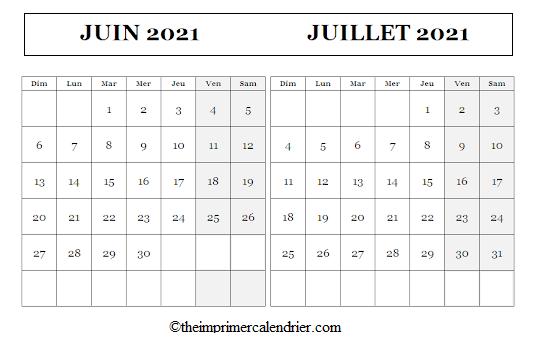 Calendrier Juin Juillet 2021 à imprimer