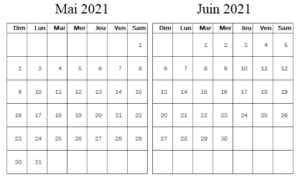 Calendrier Mai Juin 2021 à imprimer
