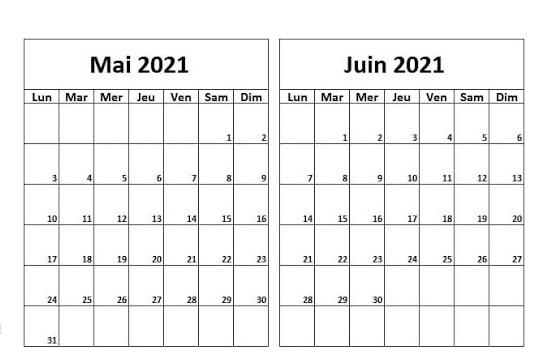 Calendrier Mai Juin 2021