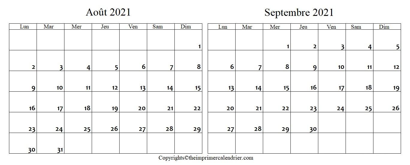 Calendrier Mois Août Septembre 2021 a Imprimer