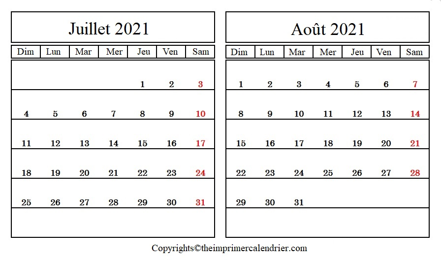 Calendrier Mois Juillet Août 2021 a Imprimer