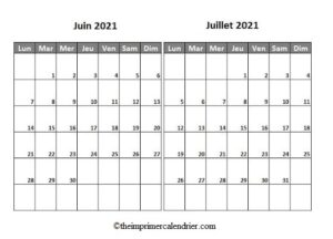 Calendrier Mois Juin Juillet 2021 a Imprimer