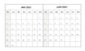 Calendrier Mois Mai Juin 2021 a Imprimer
