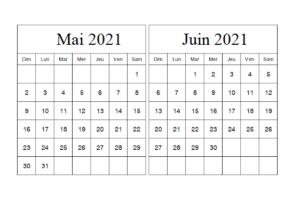 Calendrier Planning Mai Juin 2021 a Imprimer