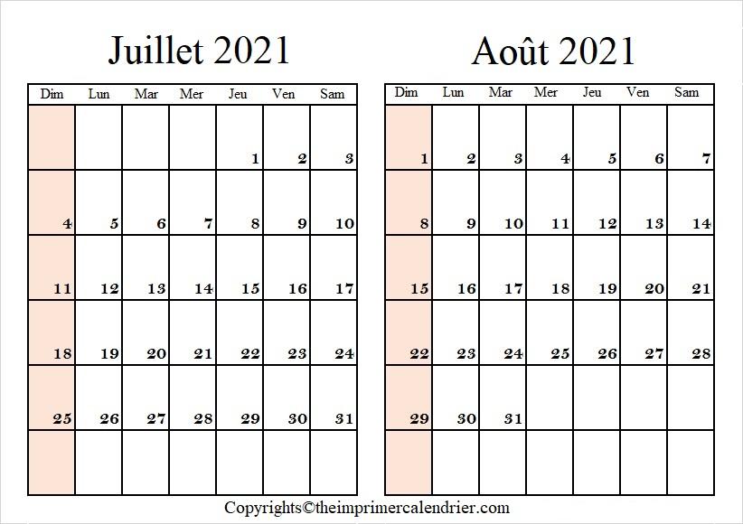 Calendrier Vierge Juillet Août 2021