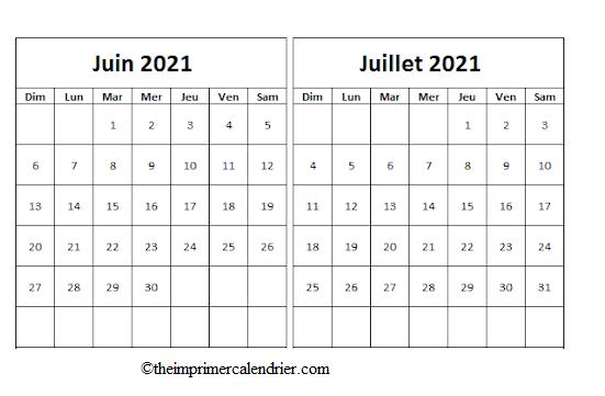Calendrier Vierge Juin Juillet 2021