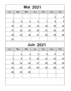 Calendrier Vierge Mai Juin 2021