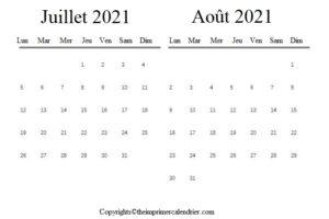 Juillet Août 2021 Calendrier PDF