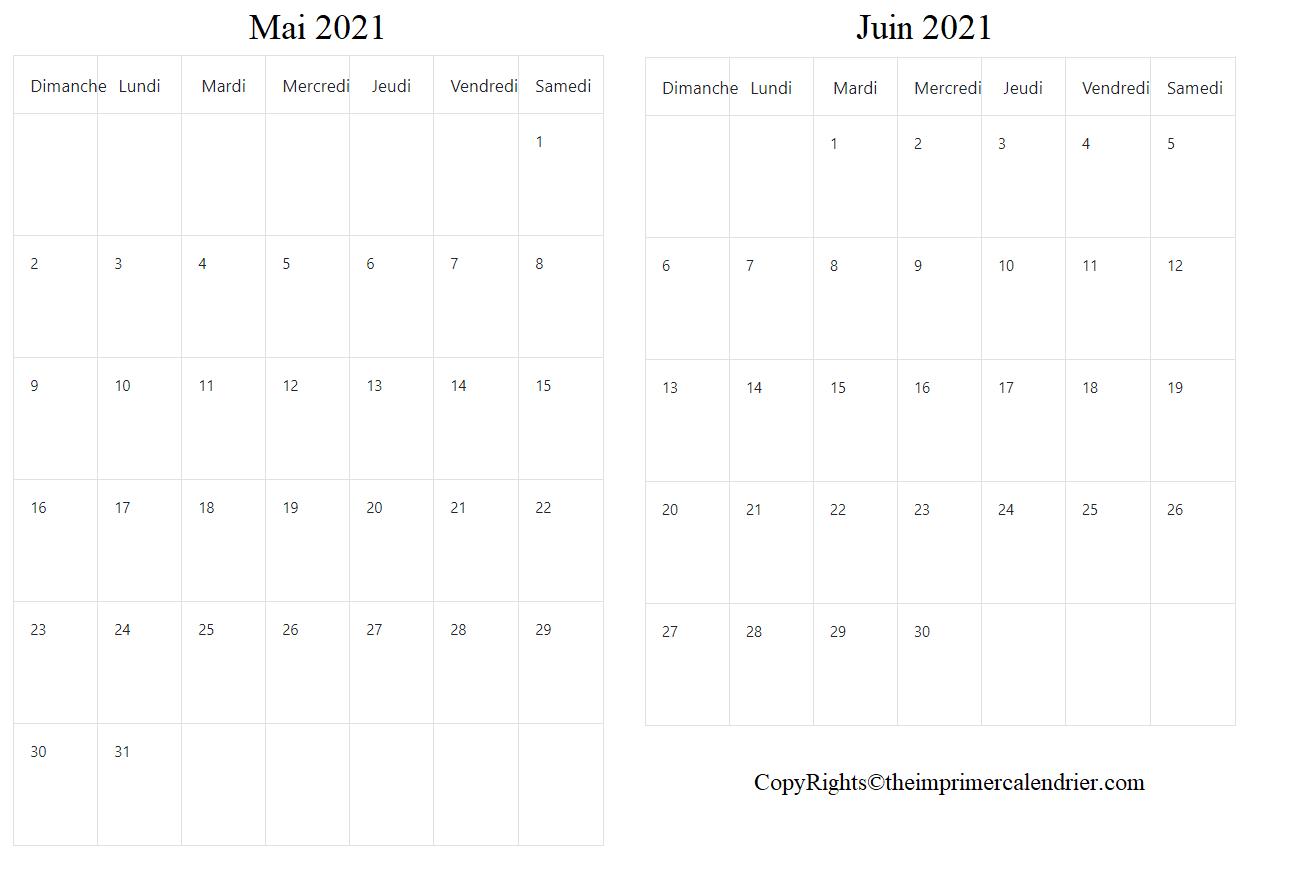 Mai Juin 2021 Calendrier PDF