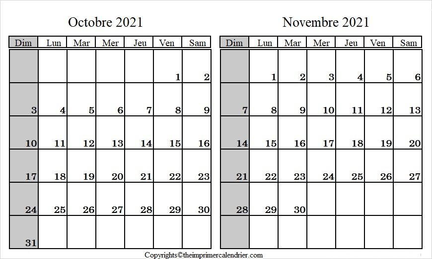 Calendrier Mois Octobre Novembre 2021 a Imprimer