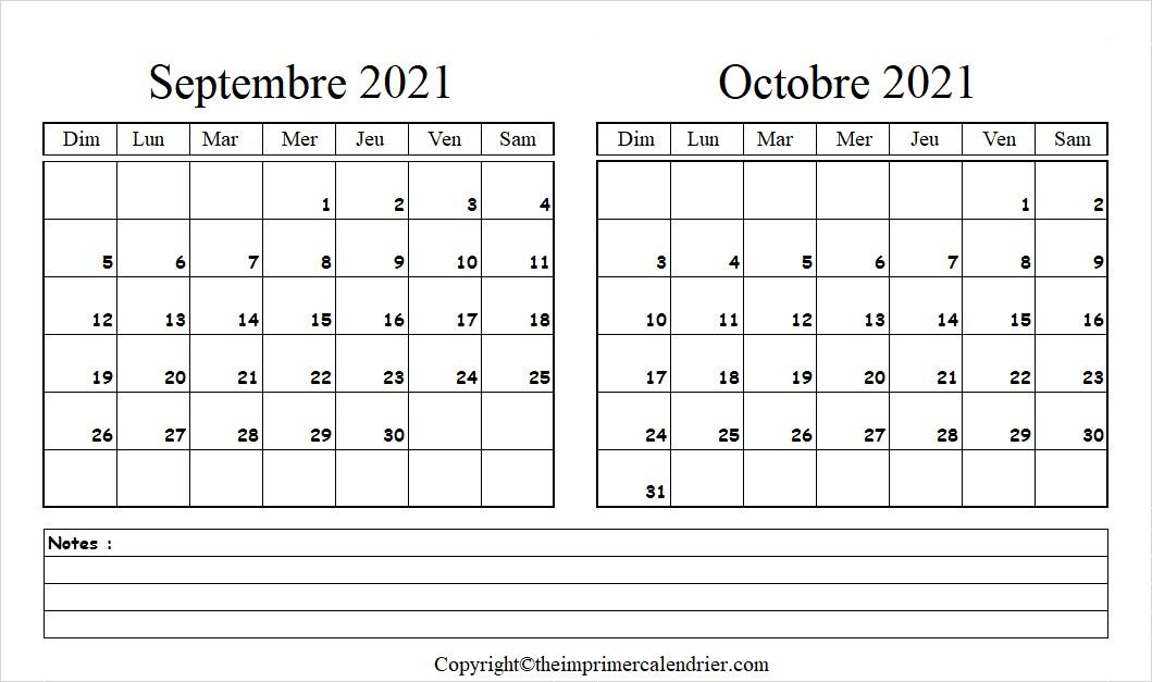 Calendrier Mois Septembre Octobre 2021 a Imprimer