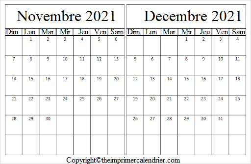 Calendrier Novembre Decembre 2021