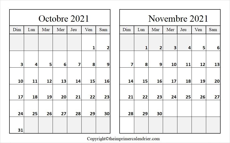 Calendrier Octobre Novembre 2021 à imprimer